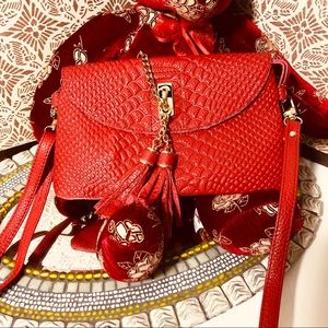 Small cross body or wristlet gorgeous red leather